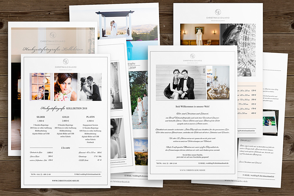 Preisliste Fotograf Photoshop-Vorlagen