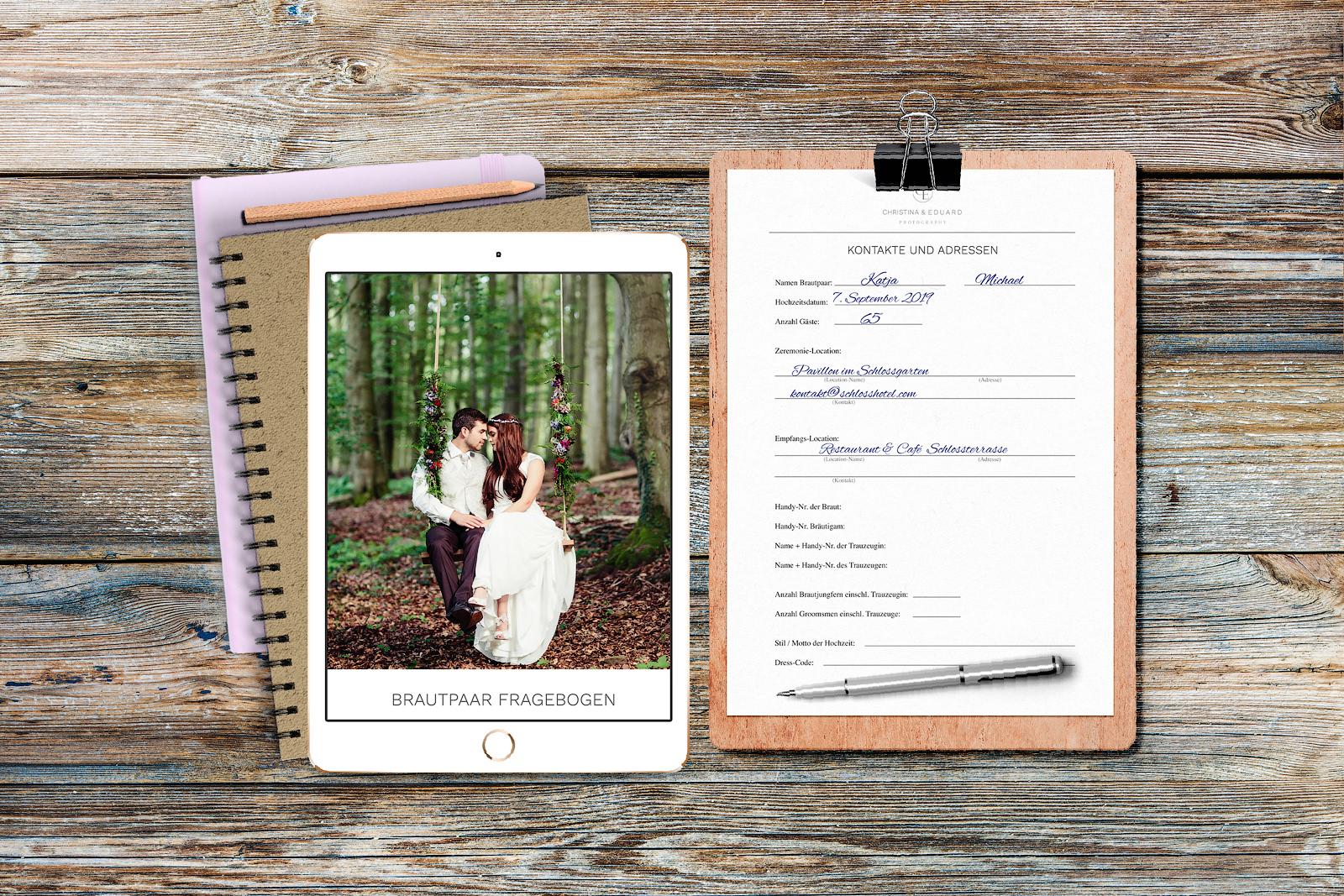 Praktischer Fragebogen für Brautpaare