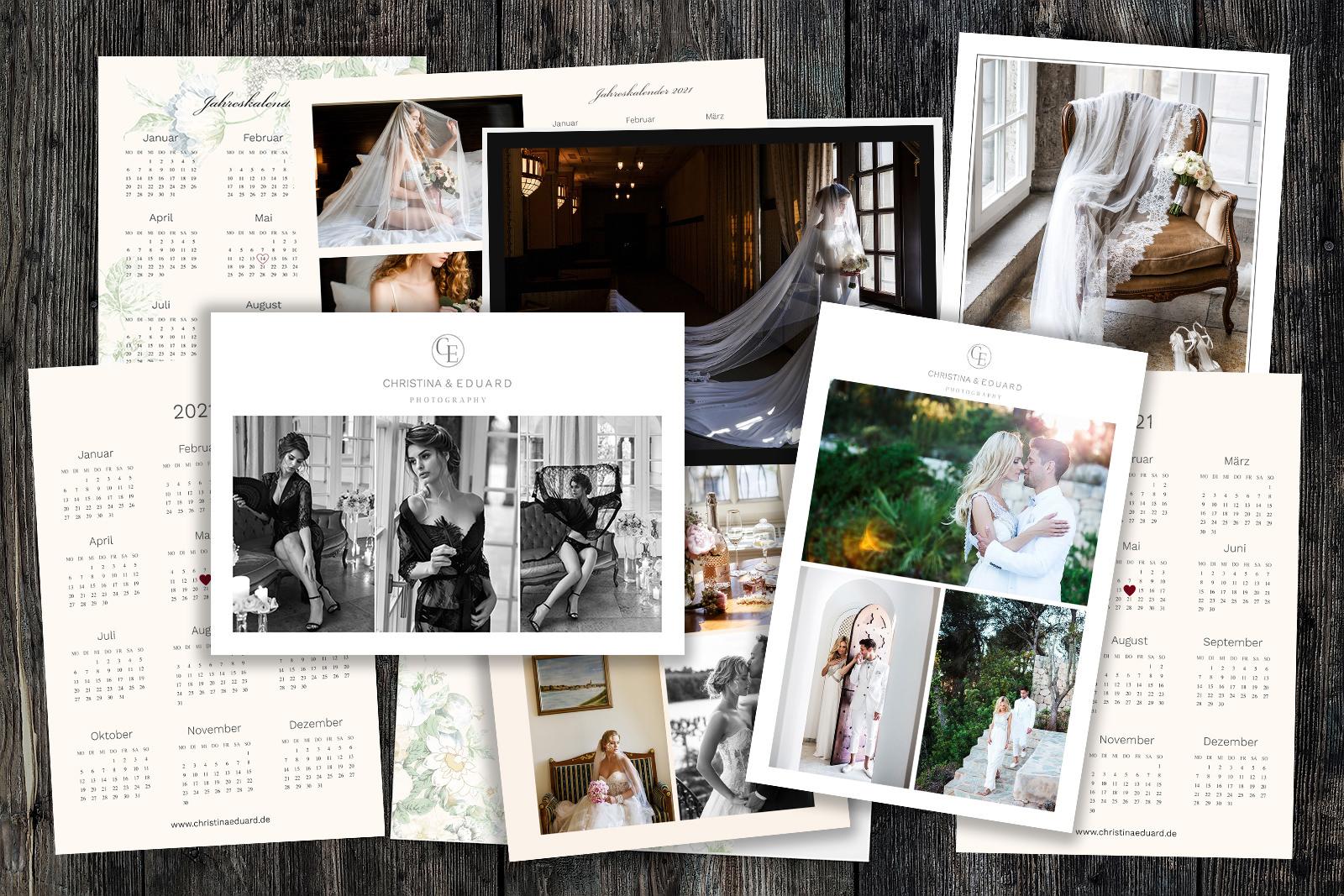 Brautpaar-Kalender 2021 Photoshop-Vorlagen